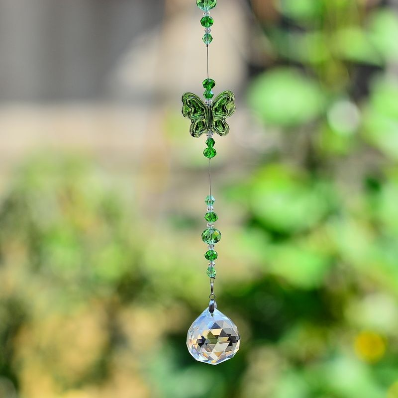 kainai suncatcher butterfly green garden deco hanging rainbows home deco crystal ornament prisms rainbow charm car charm gift