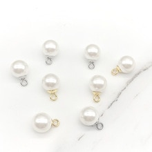 5Pcs/lot Gold Stainless Steel Pearl Bead Pendant Round Beads Necklace DIY Jewelry Bracelet Earring H