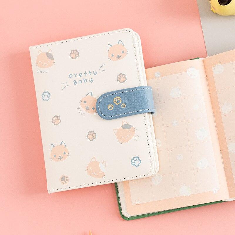 Libro Diario de piel sintética suave con Gato de dibujos animados 14,5*11cm 96 hojas forradas + cuadrícula + punteado + PAPEL gratis papelería creativa regalo