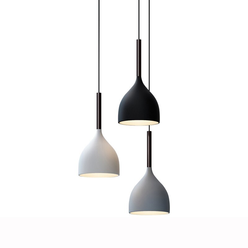 Modern hanging ceiling lamps E27 wood aluminum pendant lights, Simple and creative personality bar