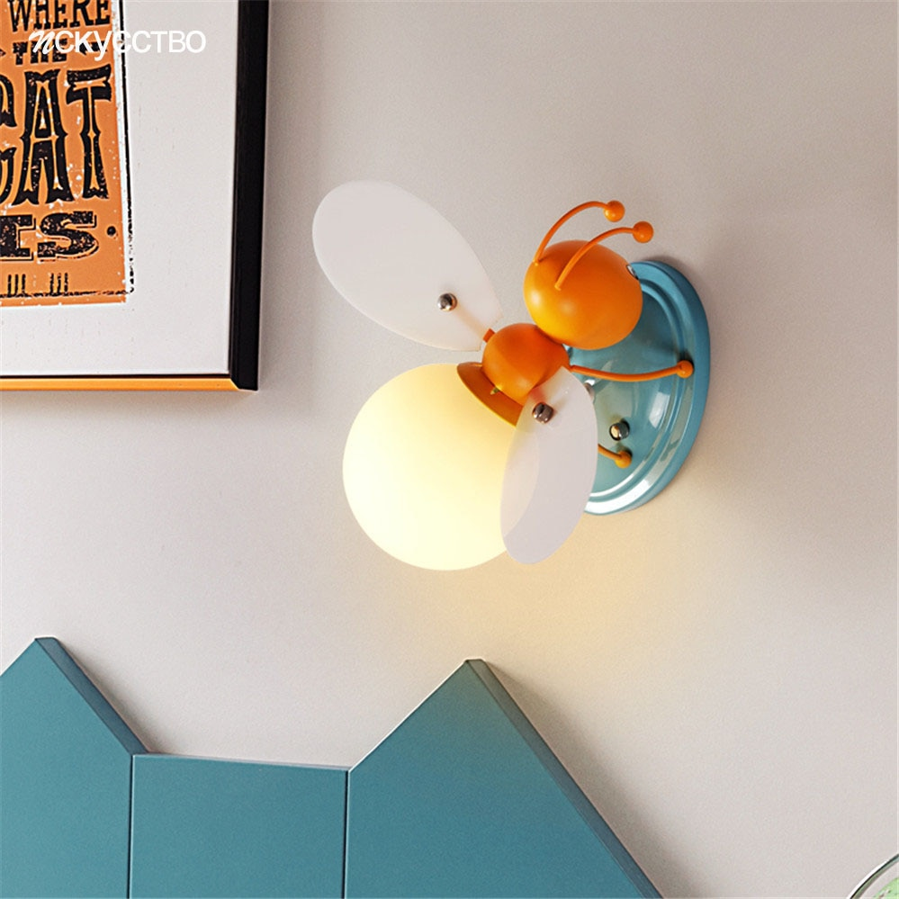 Cartoon Bee Glass Ball Led Wall Lamp With Line Switch For Children Bedroom Study Creative Kids Nightstand Lamps Corridor Light