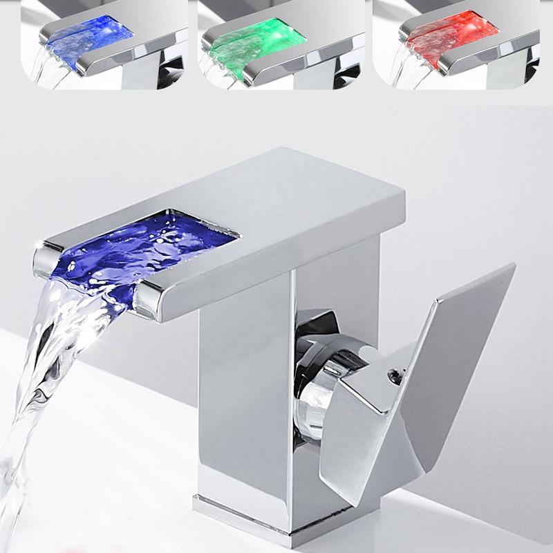 LED RGB اللون شلال حوض للحمام صنبور الحمام صنبور حوض خلاط بالوعة صنبور وحيد مقبض المرحاض صنبور حوض خلاط Torneiras دو Banheir