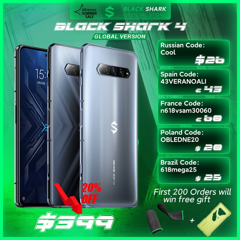In Stock Global Version Black Shark 4 6GB/8GB Smartphone Snapdragon 870 144Hz E4 AMOLED Screen DC Dimming UFS 3.1 Blackshark