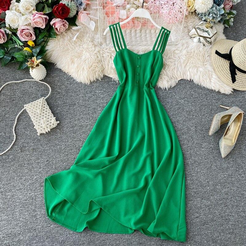 Boho Beach Dress Holiday Ladies High-Waist Backless Dress Sexy Slim Sleeveless Sling Dresses Womens Elegnat Party Dresses Mujer