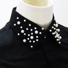 검은 코 튼 가짜 목걸이 여성 구슬에 대 한 옷 깃 분리형 거짓 칼라 빈티지 스웨터 장식 가짜 Col