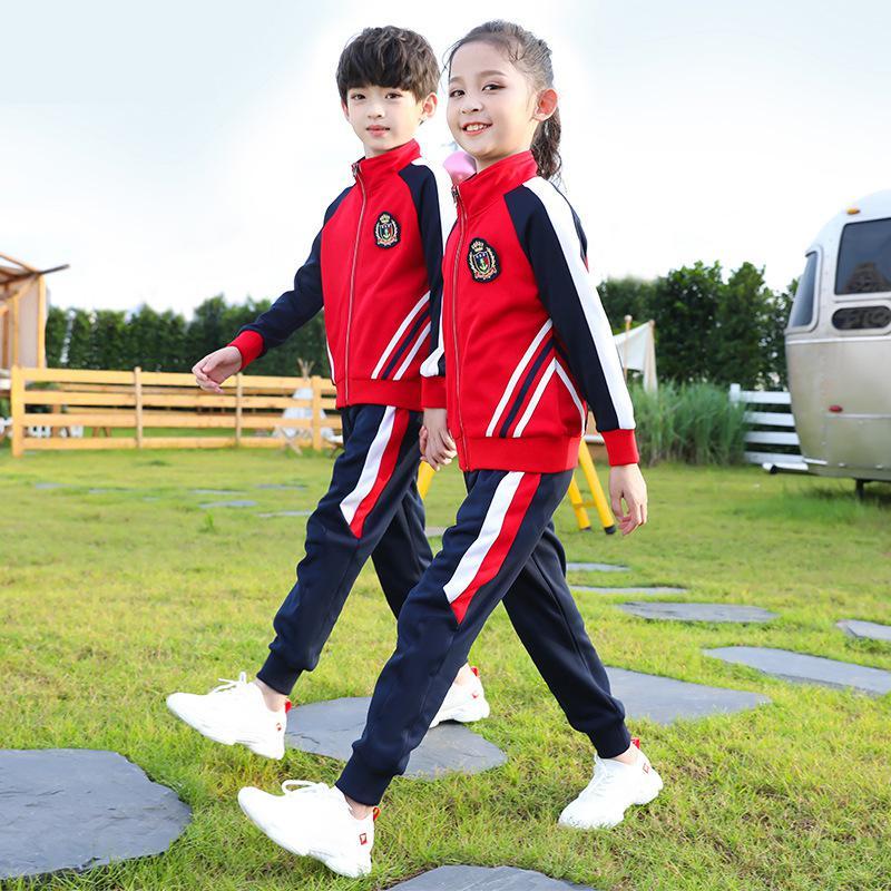 Новинка, весенне-летние костюмы школьной формы для девочек, комплект одежды унисекс из куртки и брюк, осенняя униформа для начальной школы д...