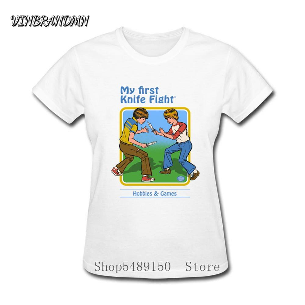 My First Knife Fight Baseball Retro Ladies Summons Demons Asian Size Camiseta de manga corta diseño creativo mujer camiseta mejor regalo