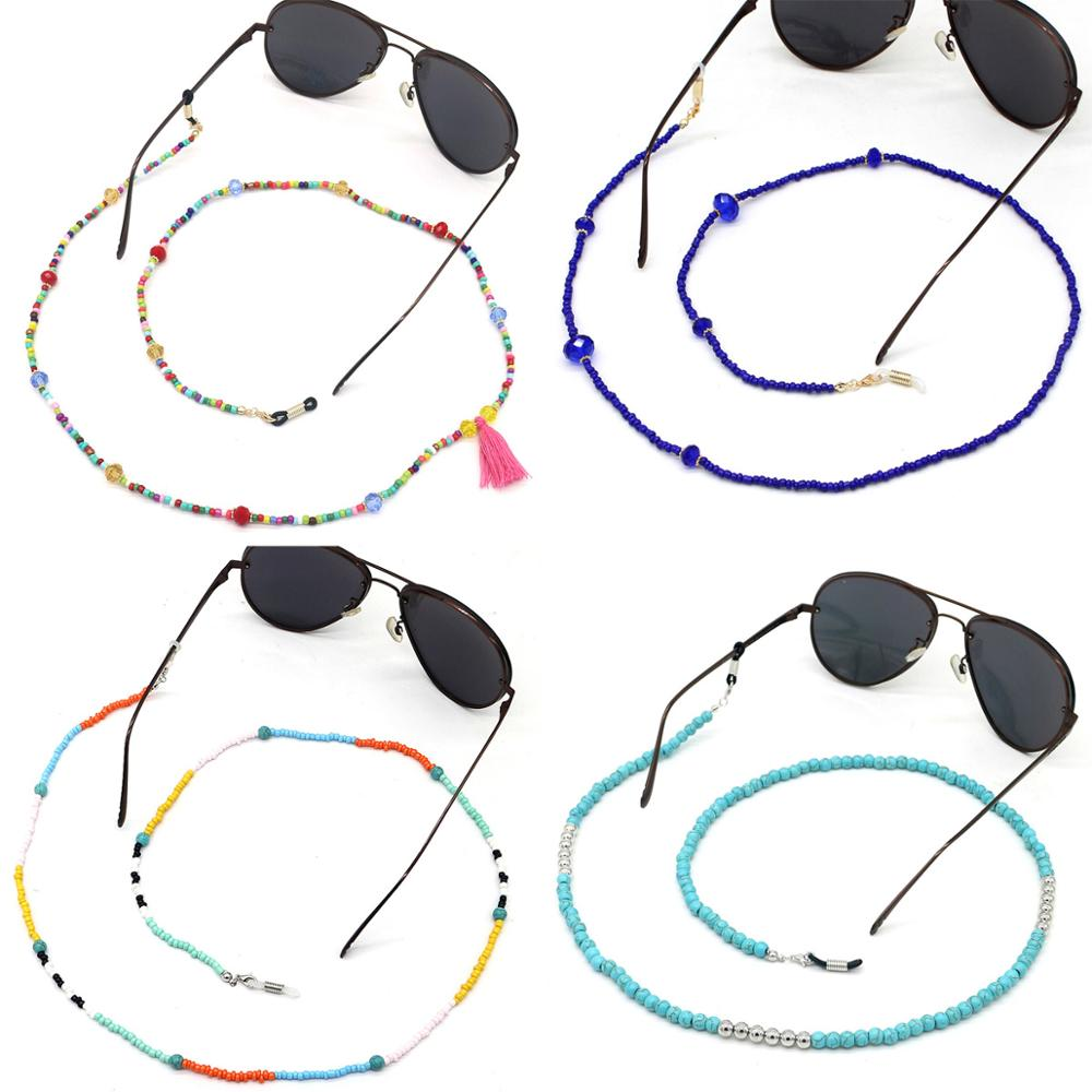 Wgoud Fashion Glasses Chains Colorful Beaded Sunglass Reading Eyeglasses Chain Cord Holder Rope For