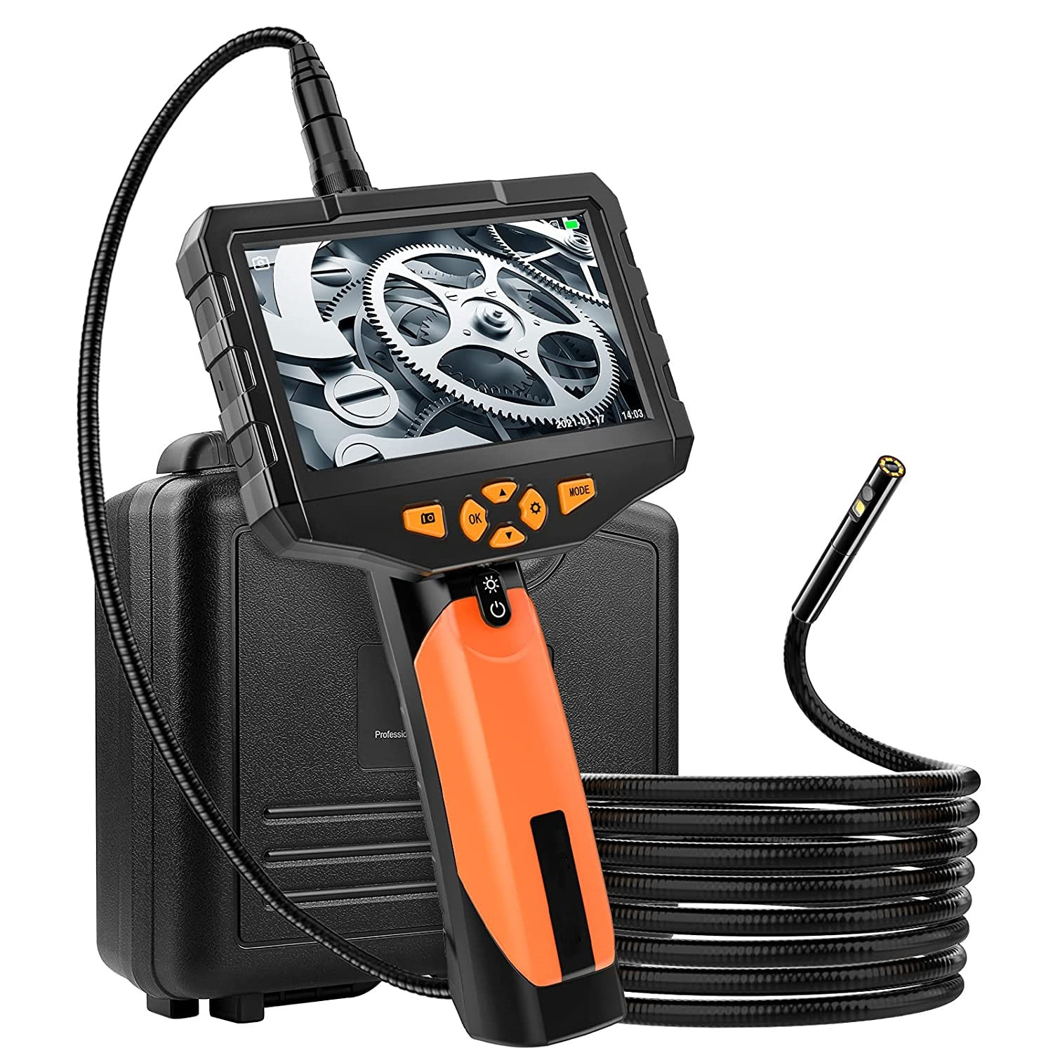Review 5.5MM 8MM Handheld Dual Lens Endoscope Camera 5″ IPS Screen Industrial Borescope 1080P Inspection Snake Camera with 32GB Card