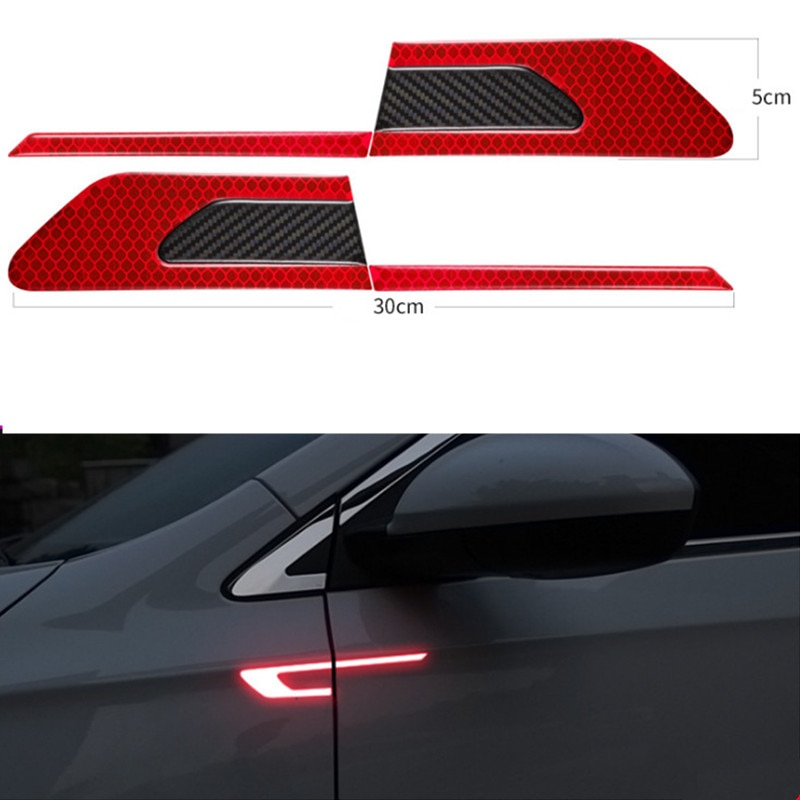 2Pcs/Set Car Reflective Safety Warning Strip Tape Bumper Strips Secure Reflector Stickers Decals