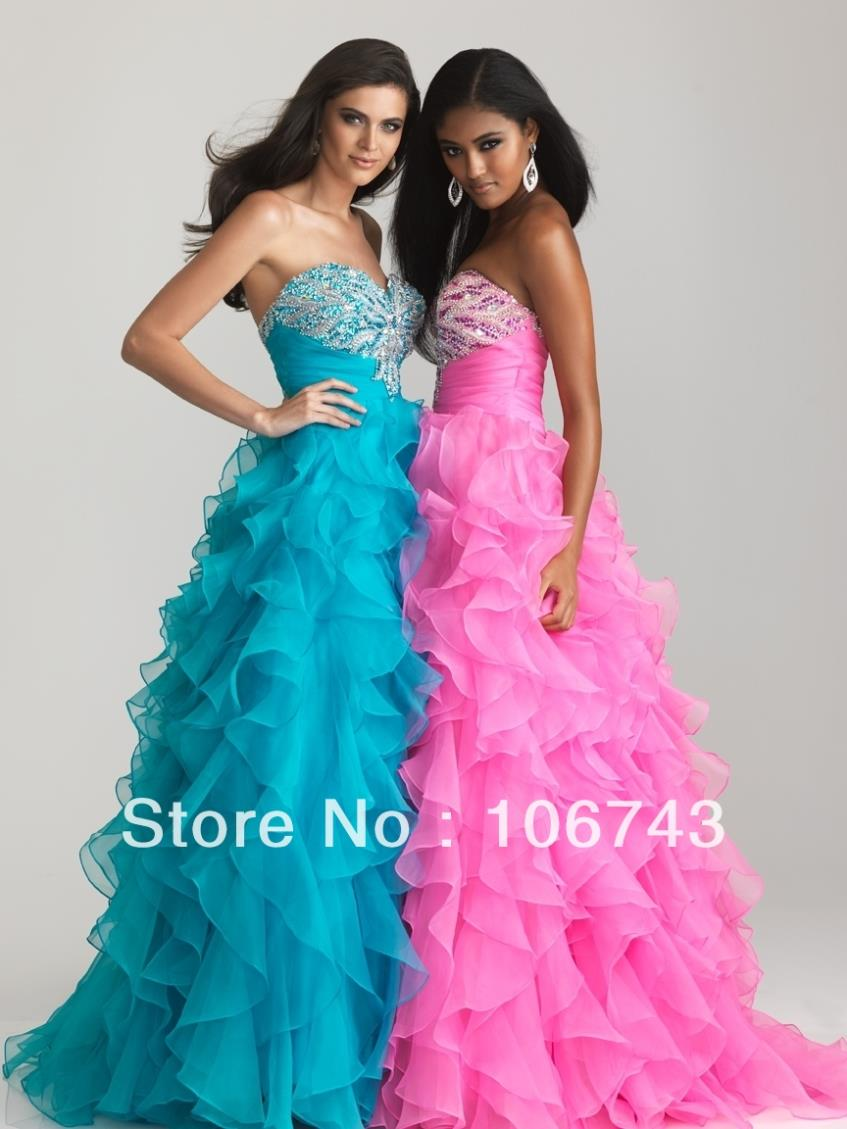 2018 free Shipping New Style Sexy sweetheart Brides Custom beading organza ruffles Prom party gown bridesmaid dresses