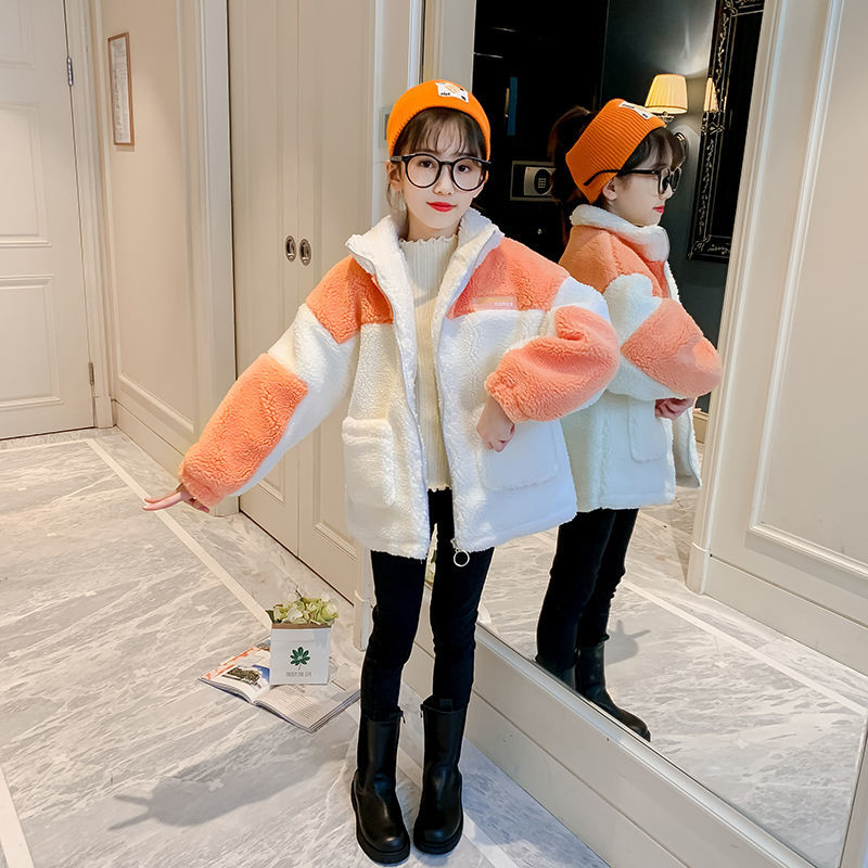 2021 Autumn Winter Girls Coat Fake Fur Cotton Padded Thicken Warm Long Coats Fashion Girls Kids Overcoats Jackets Clothes D104 enlarge