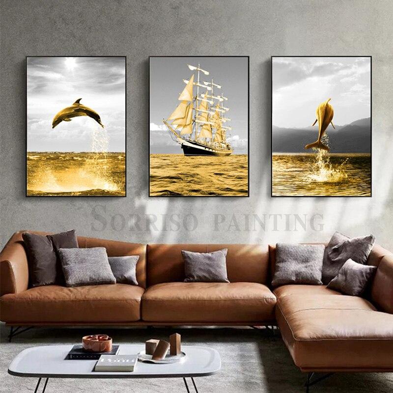 Nordic pintura da lona com moldura de ouro baleia veleiro arte da parede impressões modernas imagens para sala estar decoração casa arte