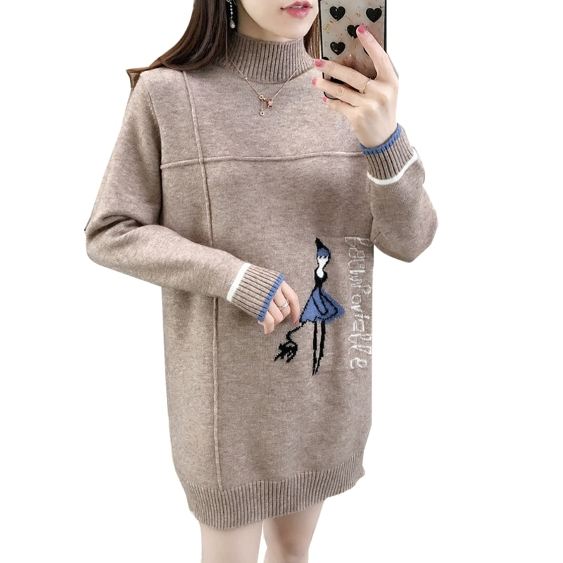 Women Long Sleeves Half Turtleneck Knitted Sweater Mid-length Loose Pullover enlarge