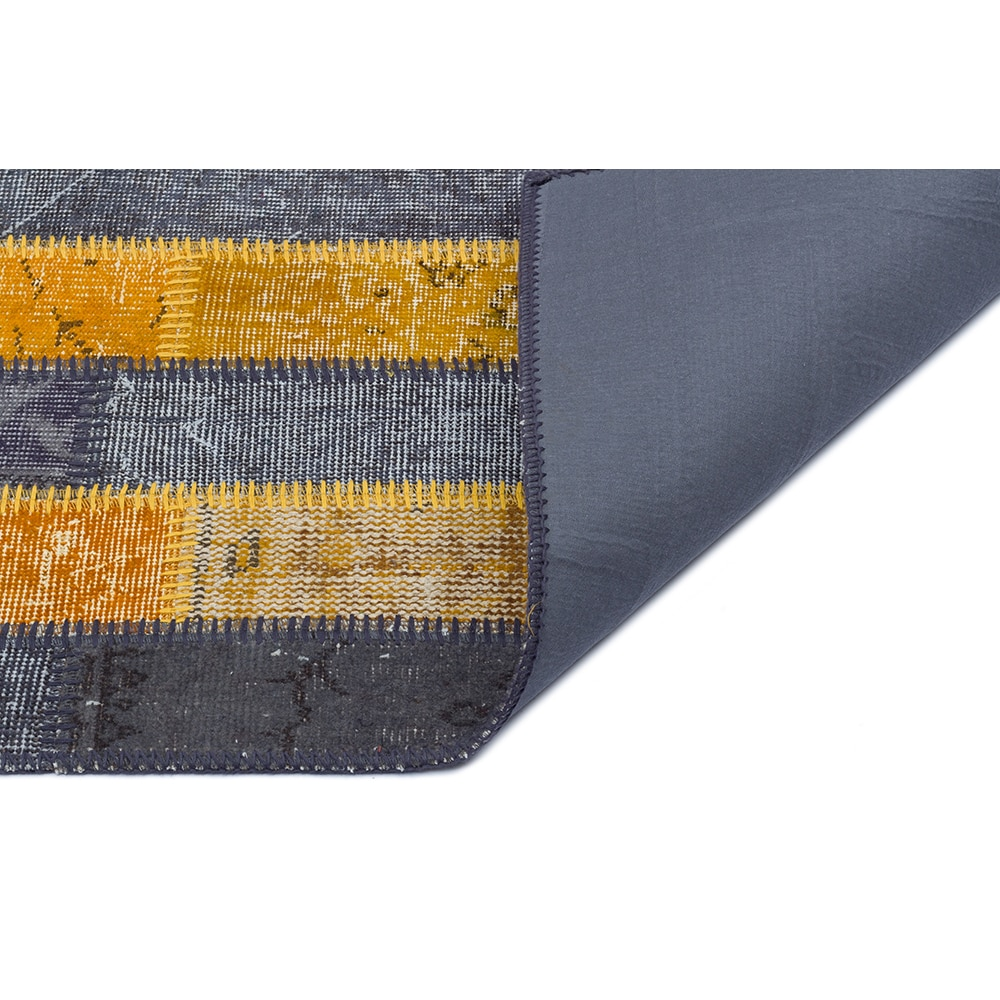 سجادة صناعة يدوية باللون الأصفر والرمادي ، سجادة بتصميم الأنوال المرقعة hhp131