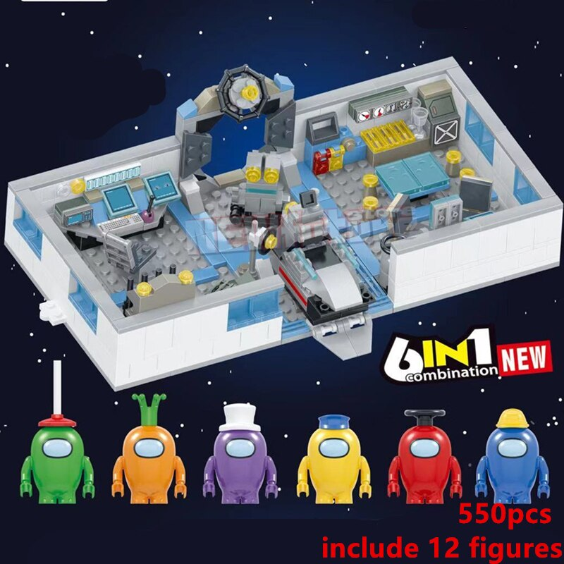 6in 1 2021 NEUE Amongs Basis Spiel Serie Figuren Stern Raum Alien Peluche Bausteine Klassische Modell Bricks Sets Kinder kits Tron