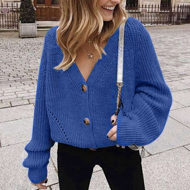 2020 Women Solid Cardigans Autumn Casual Batwing Sleeve Knitted Sweater Fashion Oversize V-Neck Button Female Knitwear Outwear enlarge