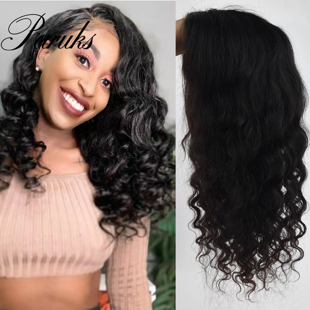 Paruks Brazilian Loose Wave Wigs Human Hair Wigs 4*4 Lace Closure Human Hair Wigs 100% Human Remy Hair Wigs For Black Woman