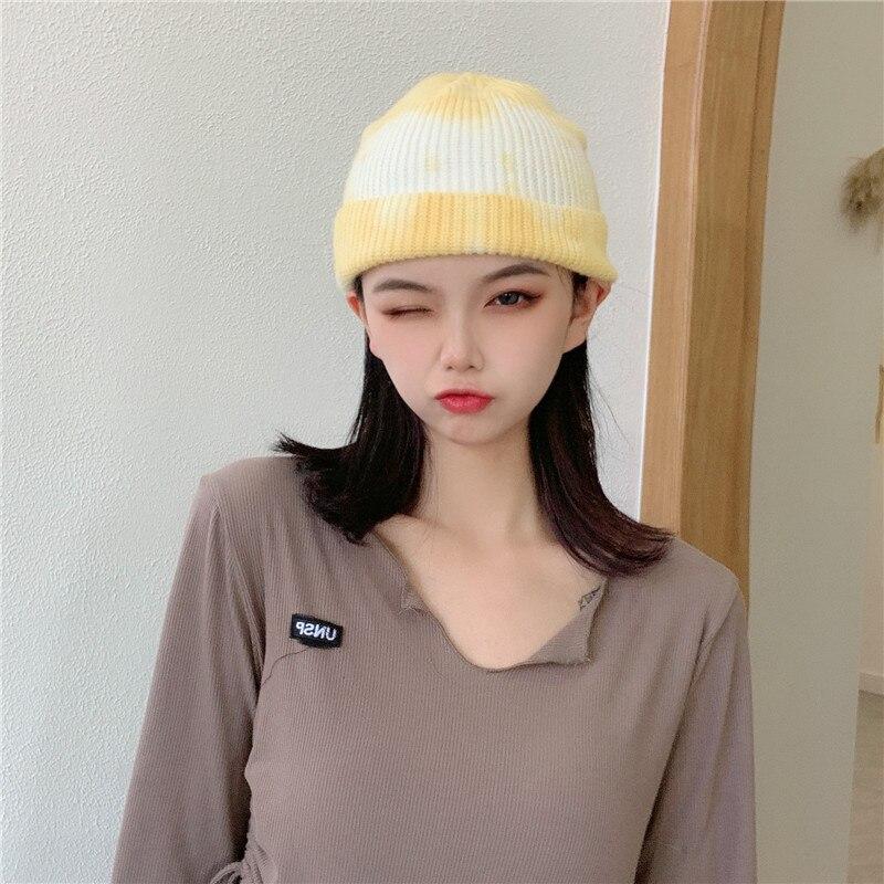 South Korea Cool Retro Tie-Dye Woolen Knitted Female Korean-style Versatile Hip-Hop Street Skullcap