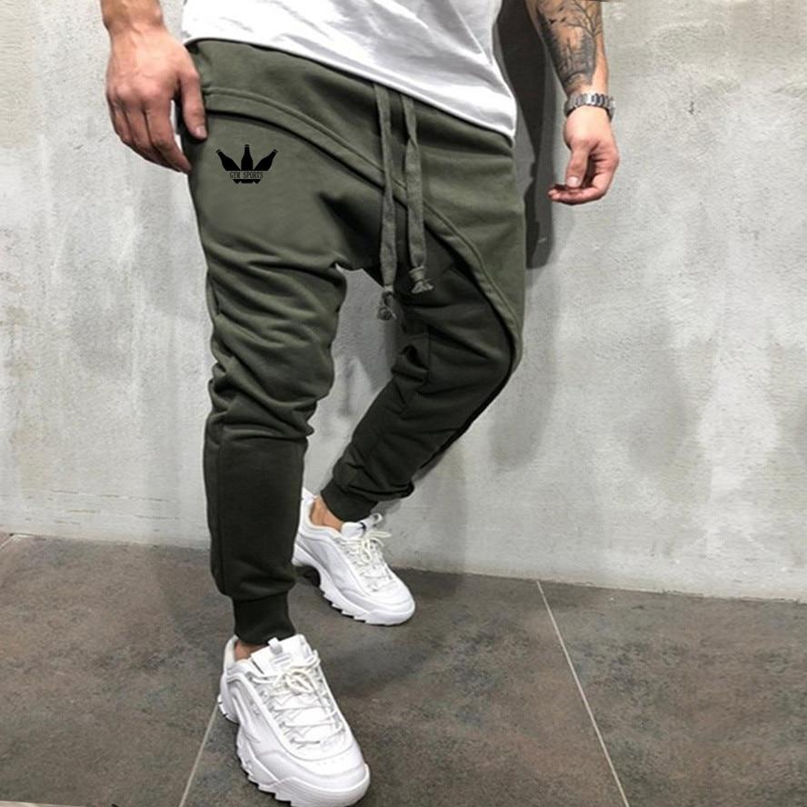 gym sports muscle men pencil pants Men Asymetric Layered Jogger Pants Hip Hop Jogger Pants Casual Drawstring Close Bottom Pants