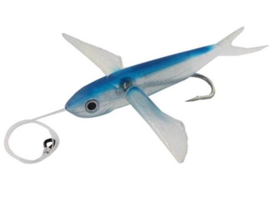 YINGTOUMAN 1 unids/lote pesca atraer la pesca en el mar suave cebo atún 21 cm/124g 17 cm/66g alas grandes aviones señuelo pesca aparejos