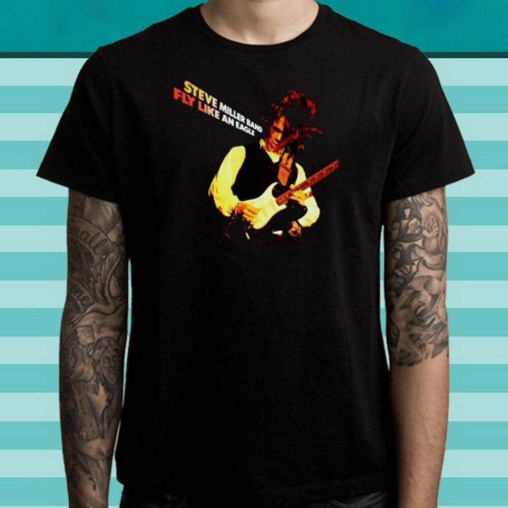 STEVE MILLER volar como un águila de la banda de Rock leyenda hombres camiseta negra de talla grande Tops TEE camiseta