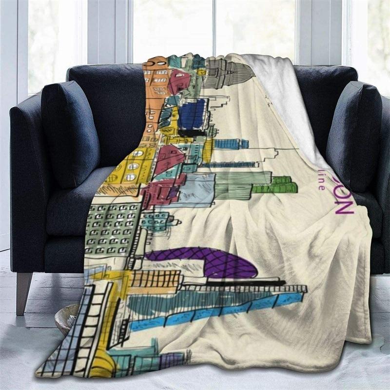 لندن مدينة أفق الخردل رمي بطانية ثلاثية الأبعاد طباعة على الطلب شيربا سوبر مريحة ل أريكة رقيقة لحاف تكييف الهواء