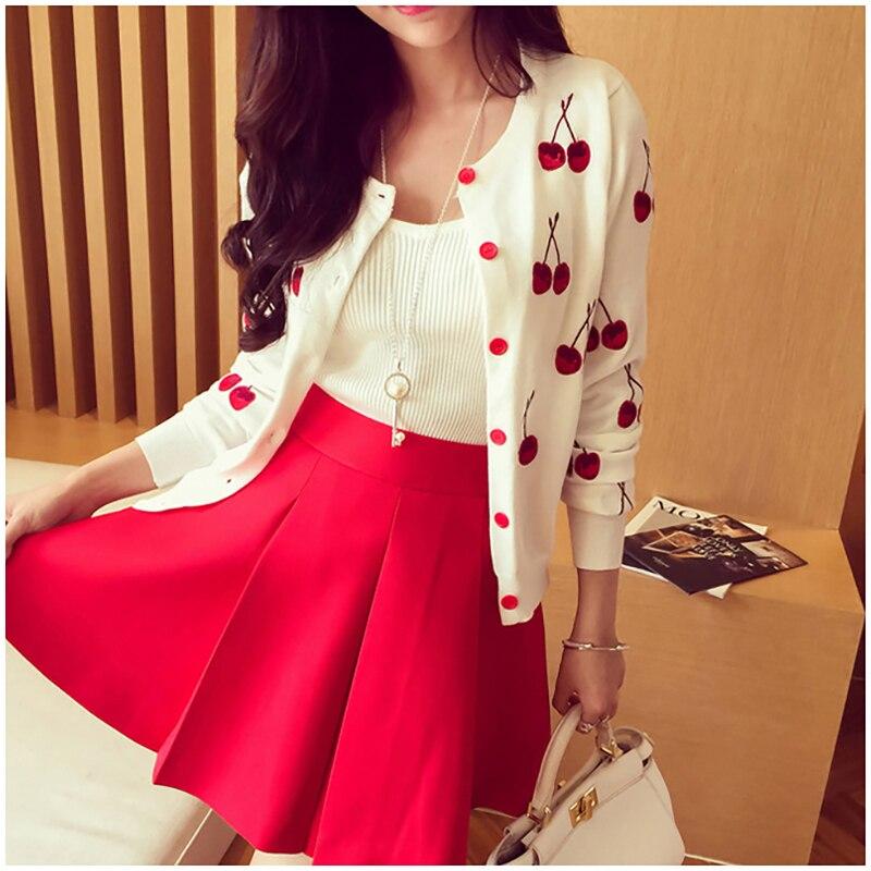 Женский свитер с вышивкой вишни, Осенний вязаный кардиган с длинным рукавом, женский весенний кардиган, свитер, милая куртка, белый