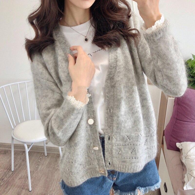 2020 primavera temprana nuevo cárdigan tejido mujeres cuello pico estilo Simple de encaje Patchwork suéter de manga larga