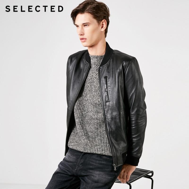 SELECTED Men's Sheep Wool Baseball Collar Leather Jacket S 419110501