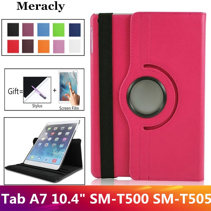 360 Rotation Litschi muster PU Leder Flip Tablet Fall für Samsung Galaxy tabA7 Tab A7 10,4 T500 SM-T505 Fall Stehen abdeckung Shell