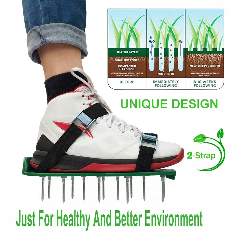 New Lawn Aerator Shoes Gardening Walking Lawn Aerator Sandals Garden Grass Loosening Tools Grass Spikes Grass Shoes