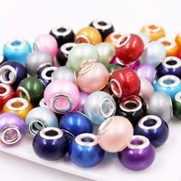 10pcs 16mm round pearl shape large hole murano chain spacer beads silver plated core fit european pandora bracelet diy jewelry