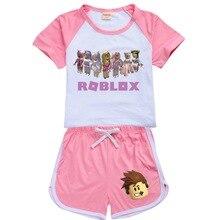 Conjunto de ropa de verano para niños y niñas, ROBLOXing camiseta y pantalones deportivos, conjunto de 2 piezas, pijamas cómodos, 2021