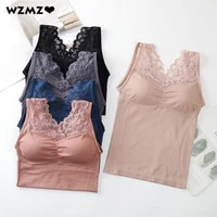 autumn winter women tank crop top seamless underwear female long crop tops sexy lace lingerie wire free with padded camisole