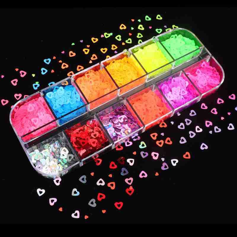 12Grids/Box 3D Hollow Heart Fluorescent Glitters Holographic Sequins Nail Art 12 Colors Laser Hole F