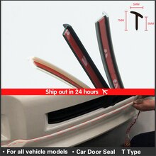 Car Door seal Rubber Sealing Strip Slanted T Type Front bumper Auto Door Seal Rubber Weatherstrip Edge Trim Black car sticker