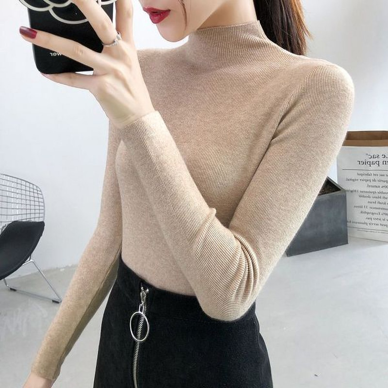 aelorxin 2017 women sweaters and pullovers thick autumn winter casual full sleeve o neck fashion women sweater girls sweaters Autumn Winter Knitted Jumper Tops White Turtleneck Pullovers Casual Sweaters Women Shirt Long Sleeve Tight Sweater Girls Thick