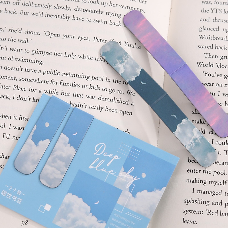 2 PCS Misty Fantasy Clouds Sea Forest Landscape Magnetic Bookmark for Pages Books Readers