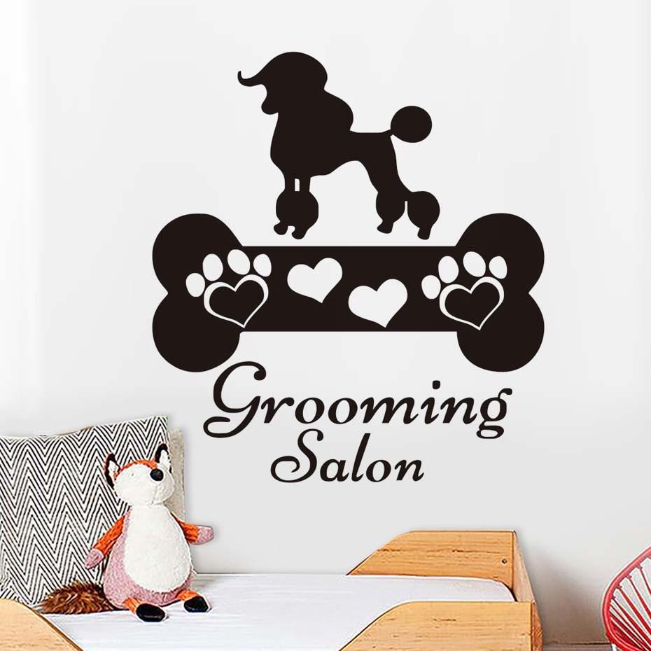 Grooming Salon Wall Sticker Dog And Bone Wall Decals Vinyl Living Room Bedroom Home Decor Pet Shop Decoration Murals