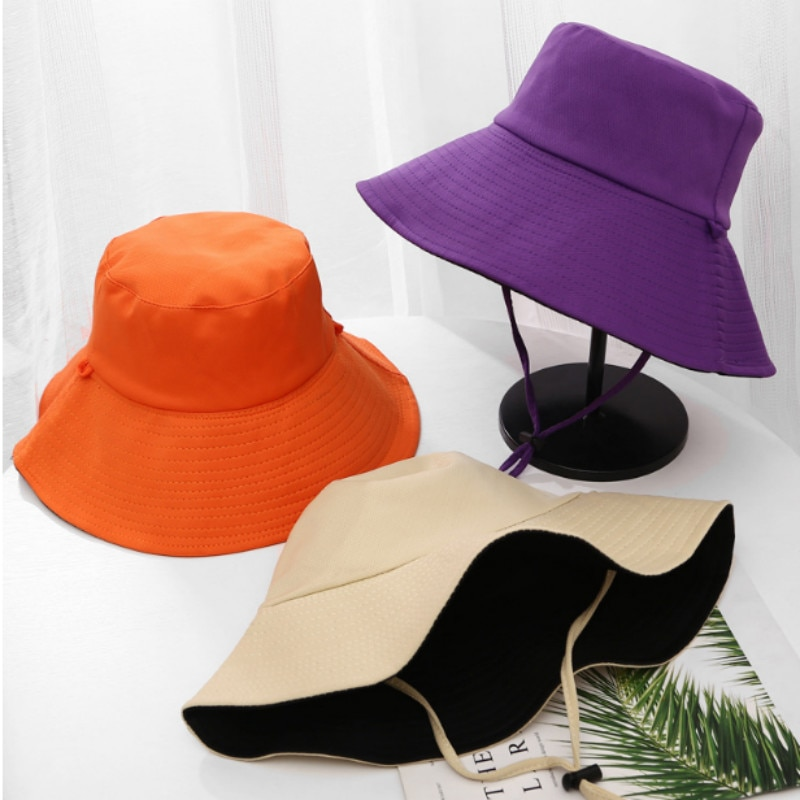 Grande borda malha chapéu de sol com corda respirável aba larga chapéu de verão caminhadas ao ar livre praia balde chapéu feminino pesca panamá bob
