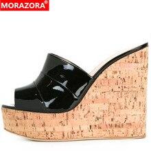 MORAZORA 2020 women slipper solid colors peep toe sexy European Style wedges platform shoes ladies summer slipper big size 45