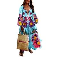 vintage sexy v neck tassel ball gown boho beach maxi dresses women 2020 autumn casual loose print long party dress vestidos
