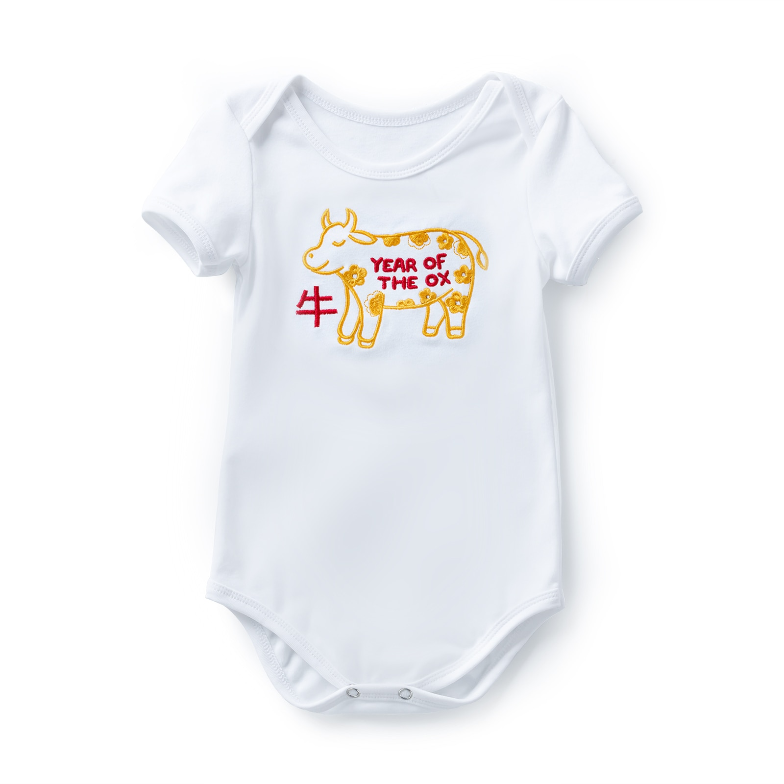 0-2 Year Newborn Baby Girls or Boys Fashion Clothes Romper Cotton Children New Year of the ox design Costume with Embroidery