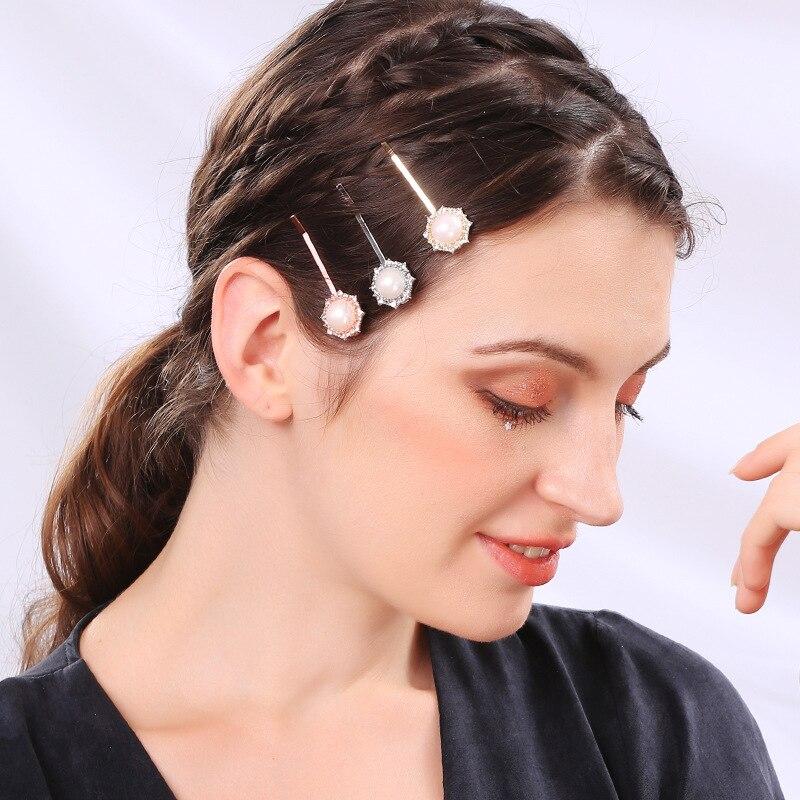 Europa e américa do vintage pedra preciosa pérola flor diamante conjunto bandana girassol lado clipe de cabelo acessórios para meninas clipe longo t973