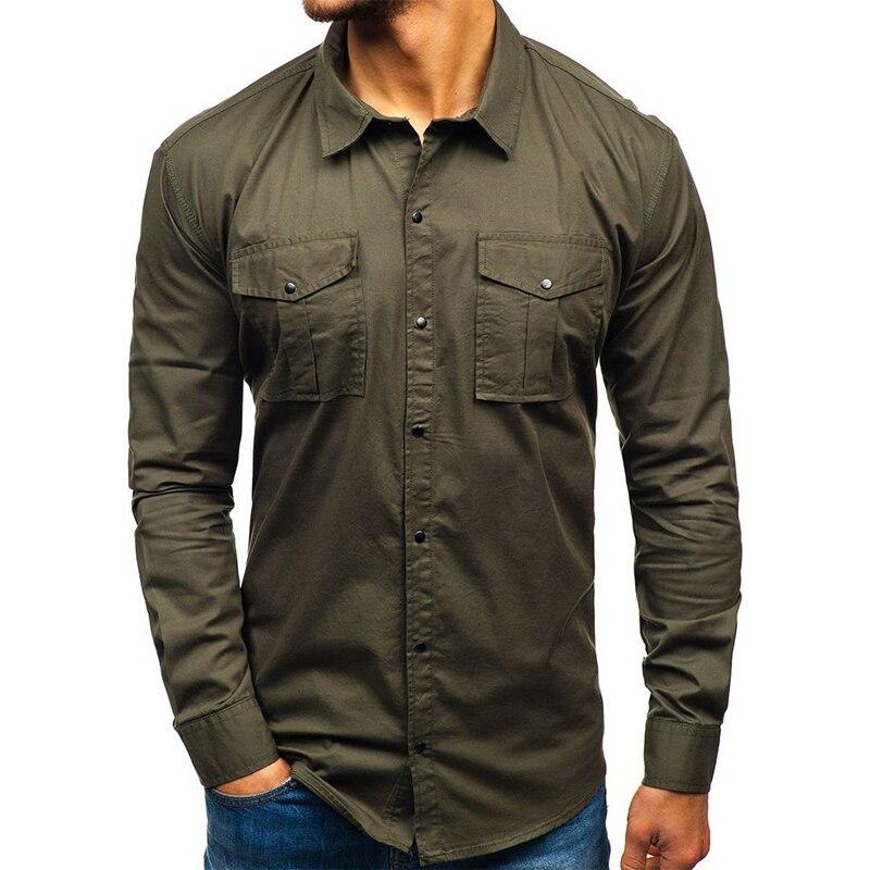 ¡Novedad de 2020! Casual Camisa de manga larga para hombre de Aoliwen, camisa verde de negocios con diseño de dos bolsillos para hombre