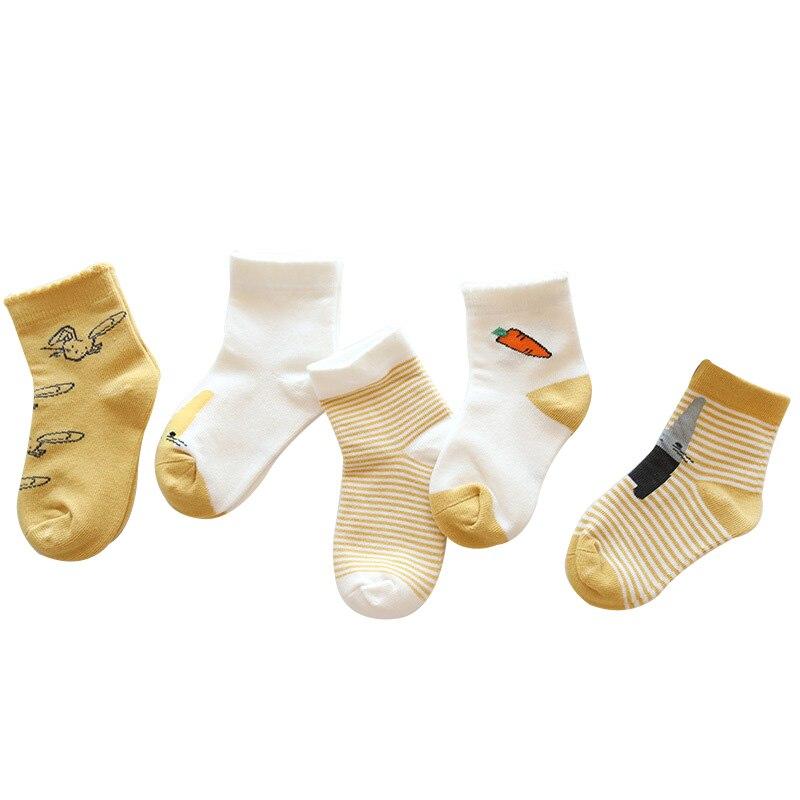 Bonitos calcetines de dibujos animados para bebés, calcetines para niños y niñas, calcetines para niños de algodón, longitud hasta el tobillo, cosas Unisex para 1-12 años, 5 pares