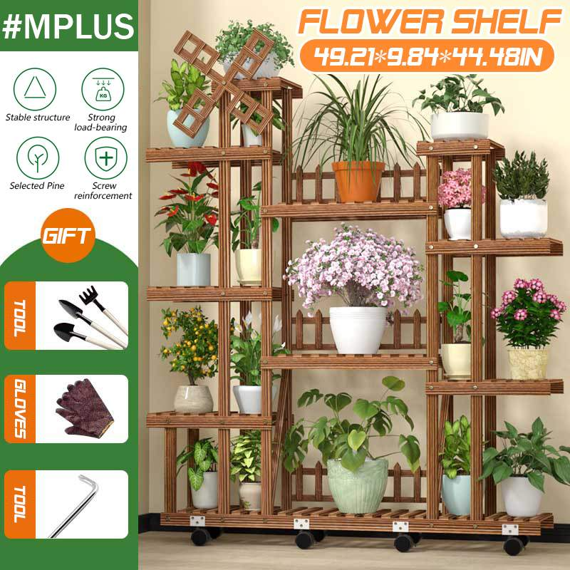 125x25x113cm 7 Tiers Wooden Flower Rack Plant Stand Multi Flower Stand Shelves Bonsai Display Shelf Yard Garden Patio Balcony