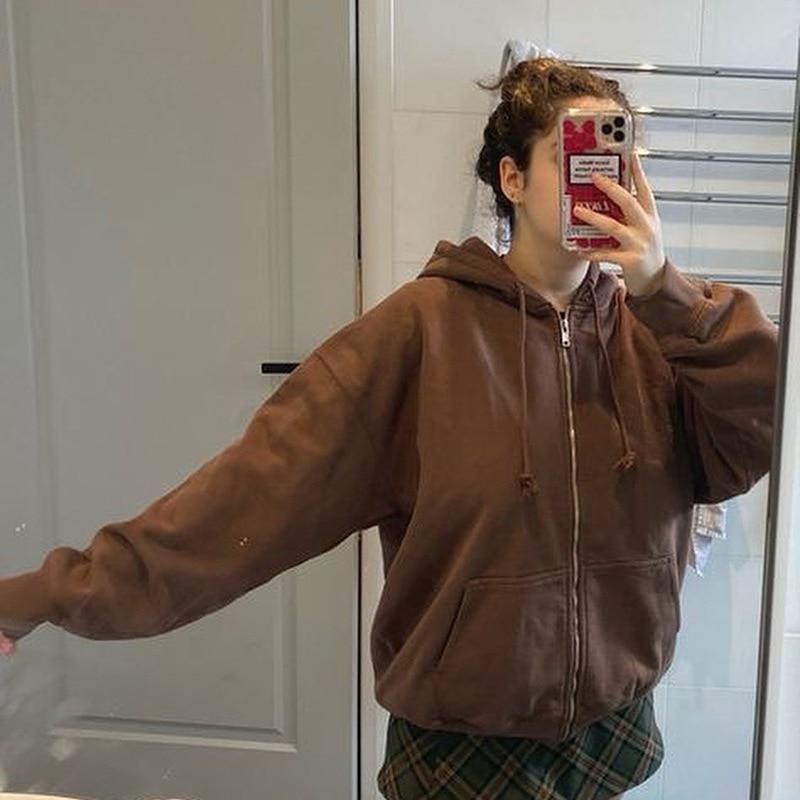 Cotton Outwear 2021 Women Fashion Solid Hooded Sweatshirt Zip-up Pocket Plus Velvet Warm Casual Hoodies Winter Coat