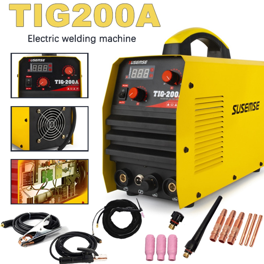 TIG Welder Inverter Dual Voltage 110/220V 200A TIG200A High Frequency Start TIG Welding Machine & Consumables